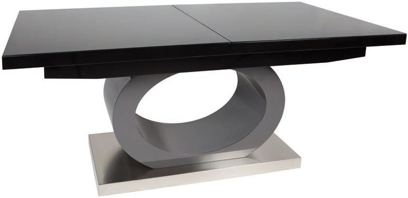 Greenapple Saturn Glass Top Extending Dining Table - Black High Gloss and Grey