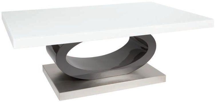 Greenapple Saturn Glass Top Coffee Table - White High Gloss and Grey