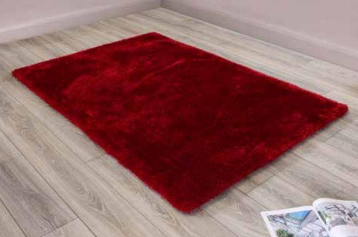 Indigo Red Plain Shaggy Rug