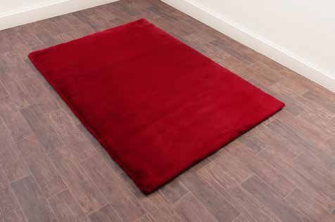 Luxe Faux Fur Red Plain Shaggy Rug