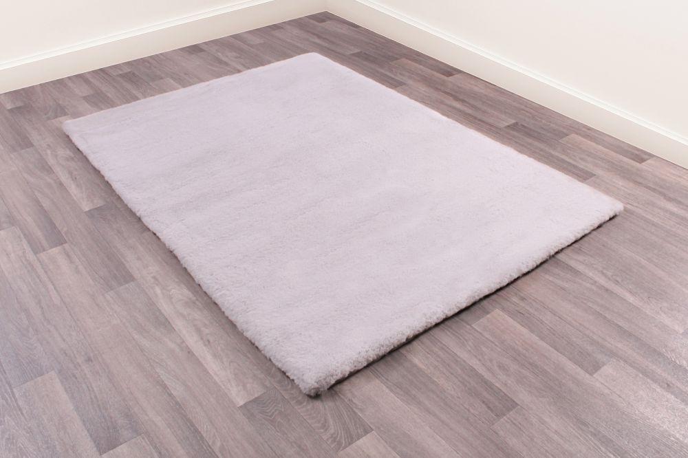 Luxe Faux Fur Silver Plain Shaggy Rug