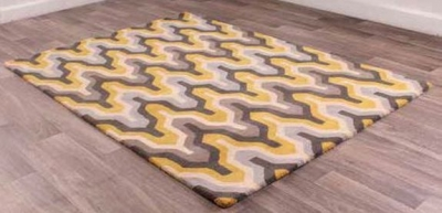 New Art Marley Grey Yellow Geometric Wool Rug
