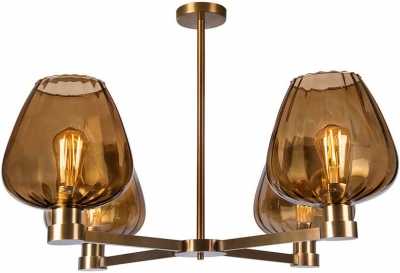 Heathfield Giselle Amber Glass and Antique Brass Chandelier