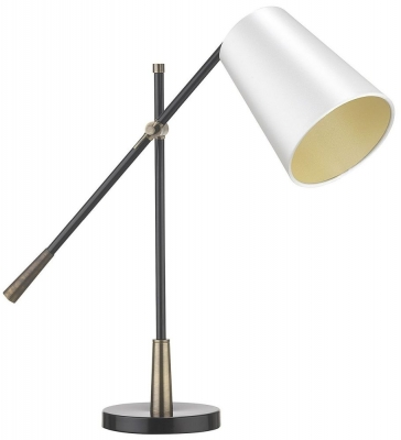 Heathfield Andro Antique Brass Table Lamp with Ivory Satin Shade