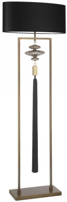 Heathfield Constance Antique Brass Black Floor Lamp with Black Satin Shade