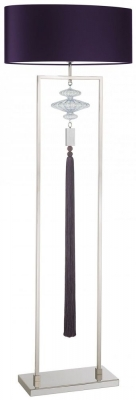 Heathfield Constance Polished Nicke Floor Lamp with Purple Satin Shade