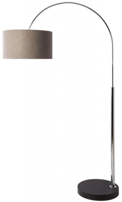 Heathfield Reach Chrome Floor Lamp with Gunmetal Glaze Linen Shade
