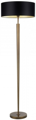 Heathfield Torchere Antique Brass Floor Lamp with Black Satin Shade