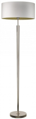 Heathfield Torchere Nickel Floor Lamp with Ivory Satin Shade