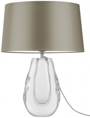 Heathfield Anya Clear Glass Table Lamp with Gilt Satin Shade