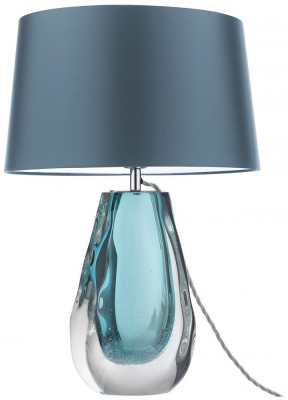 Heathfield Anya Peacock Glass Table Lamp with Jay Satin Shade