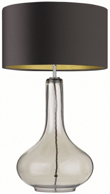 Heathfield Ariadne Smoke Glass Table Lamp with Chocolate Satin Shade