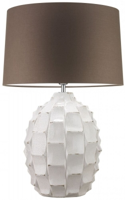 Heathfield Bayern Ivory Table Lamp with Mole Glaze Linen Shade