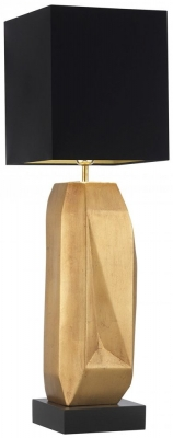 Heathfield Behrens Gold Leaf Table Lamp with Black Satin Shade