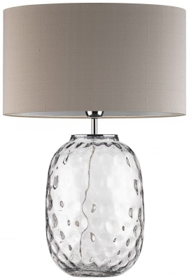 Heathfield Bubble Clear Glass Table Lamp with Pebble Silk Shade