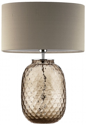 Heathfield Bubble Smoke Glass Table Lamp with Herb Silk Shade