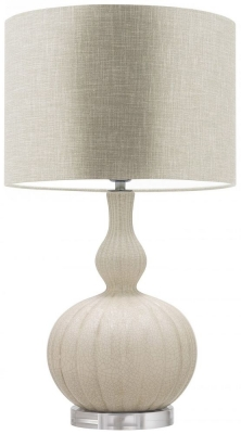 Heathfield Celine Natural Cream Ceramic Table Lamp with White Linen Shade