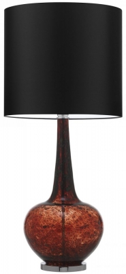 Heathfield Grace Tuscan Red Glass Table Lamp with Black Satin Shade