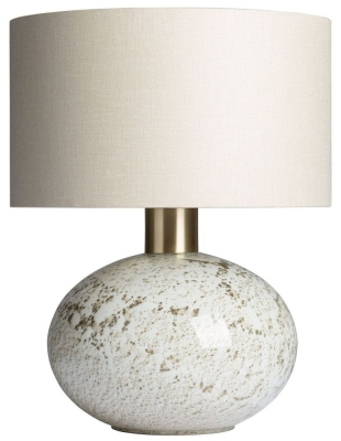 Heathfield Orion Suede Glass Table Lamp with Stone Glaze Linen Shade