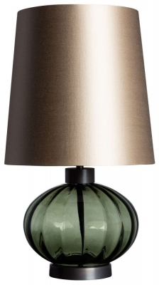 Heathfield Pedra Moss Glass Table Lamp with Drum Carbonne Satin Shade