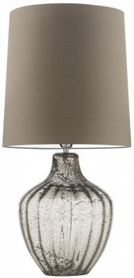 Heathfield Vivienne Clear Glass Large Table Lamp with Herb Silk Shade