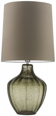 Heathfield Vivienne Natural Green Glass Large Table Lamp with Herb Silk Shade