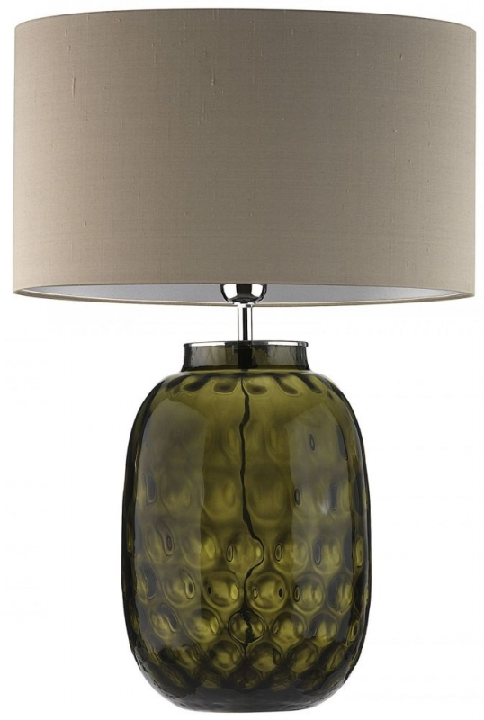 Heathfield Bubble Olive Glass Table Lamp with Herb Silk Shade