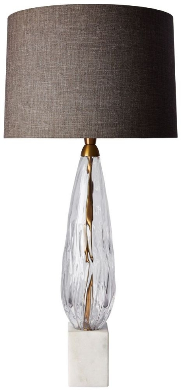 Heathfield Haywood Clear Glass Table Lamp with Gunmetal Linen Shade