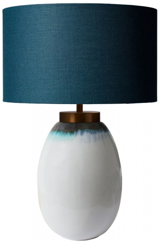 Heathfield Ilulisat Layer Ceramic Table Lamp with Teal Linen Shade