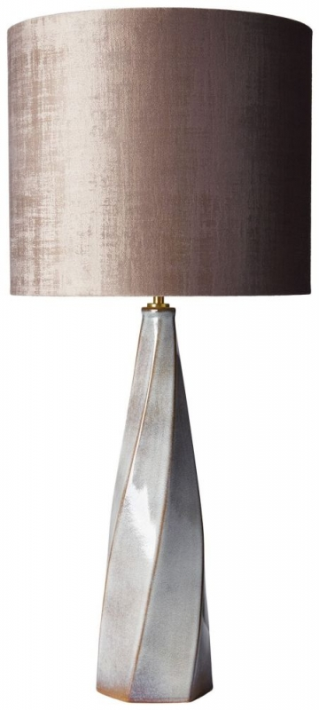 Heathfield Saha Frost Ceramic Table Lamp with Mole Velvet Shade