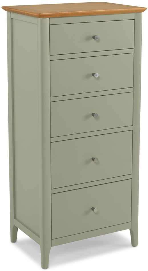 Ancona Sage Green Painted 5 Drawer Tall Chest