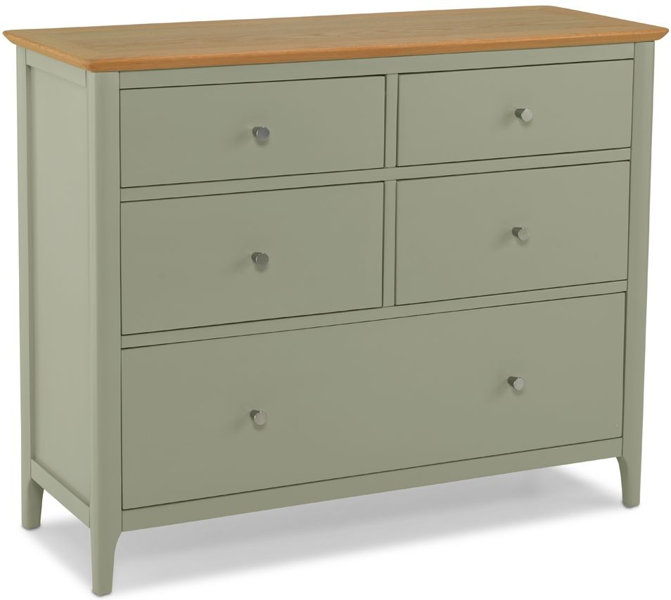 Ancona Sage Green Painted 5 Drawer Wide Chest
