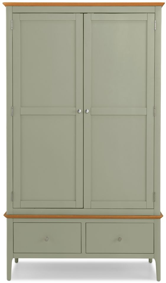 Ancona Sage Green Painted 2 Door 2 Drawer Double Wardrobe