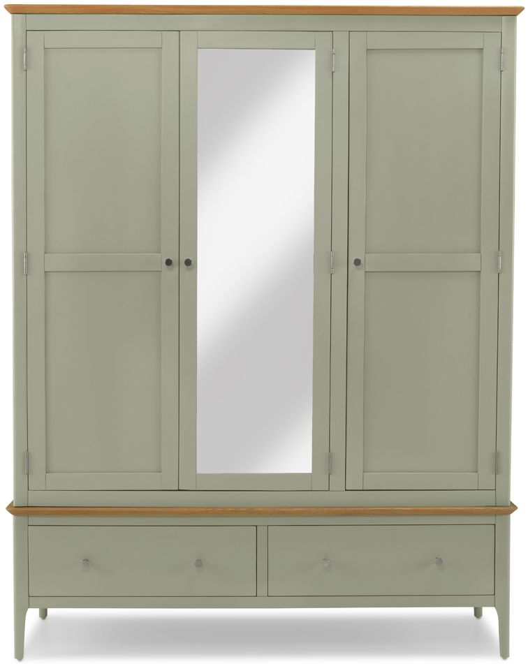 Ancona Sage Green Painted 3 Door 2 Drawer Triple Wardrobe with Mirror