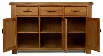 Arles Oak Large 3 Drawer with 3 Door Sideboard
