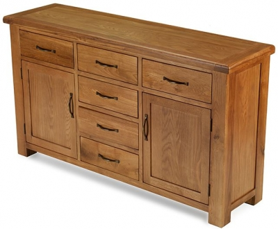 Arles Oak Large 6 Drawer with 2 Door Sideboard