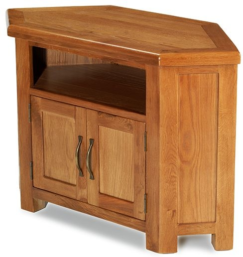 Arles Solid Oak 2 Door Petite Corner TV Unit