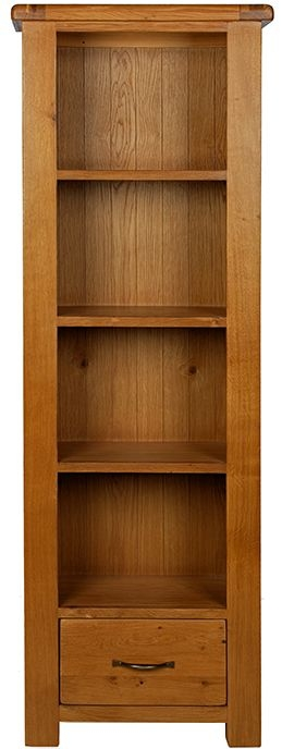 Arles Oak Slim Bookcase with Drawer