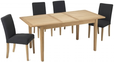 Asby Oak Extending Dining Table and Dark Grey Linen Fabric Chairs