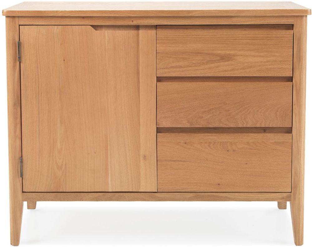 Asby Oak 1 Door 3 Drawer Small Sideboard