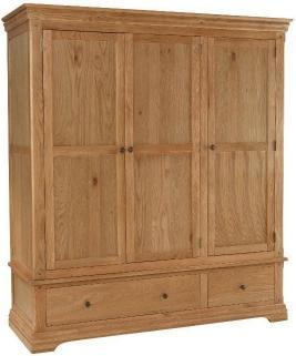 Bayford Oak 3 Door 2 Drawer Wardrobe