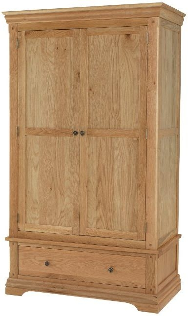 Bayford Solid Oak 2 Door 1 Drawer Double Wardrobe