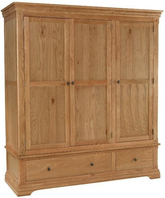 Bayford Oak 3 Door 2 Drawer Triple Wardrobe