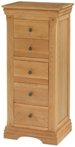 Bayford Solid Oak 5 Drawer Tall Chest