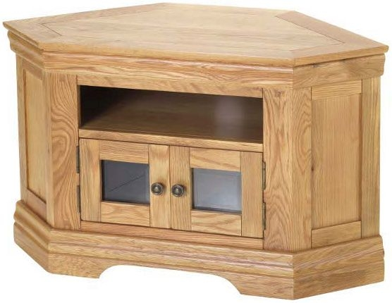 Bayford Solid Oak 2 Door Corner TV Cabinet