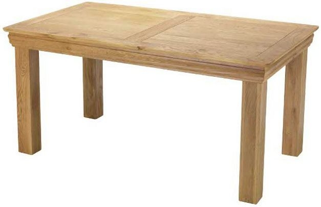 Bayford Solid Oak Rectangular Fixed Top Medium Dining Table - 160cm
