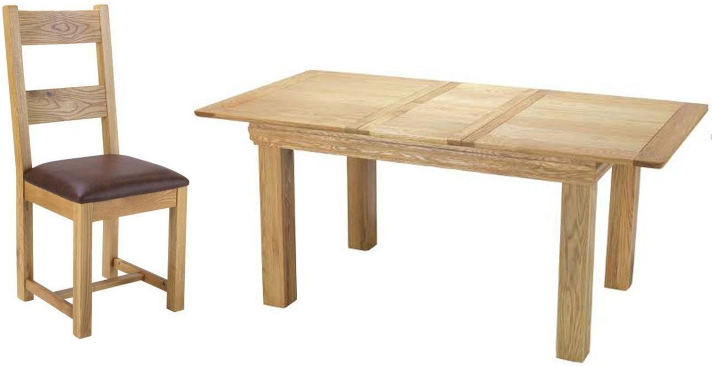 Bayford Solid Oak Extending Small Dining Set with 6 Chairs - 125cm-165cm