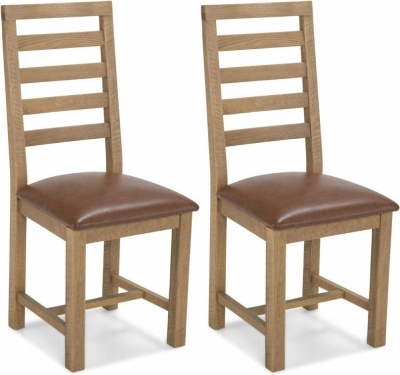 Bourg Oak Ladder Back Dining Chair (Pair)