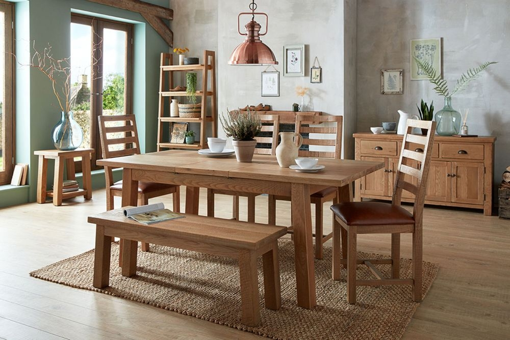 Bourg Oak Extending Dining Table with 4 Ladder Back Chairs and Bench
