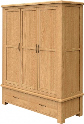 Bradburn Oak 2 Drawer Triple Wardrobe